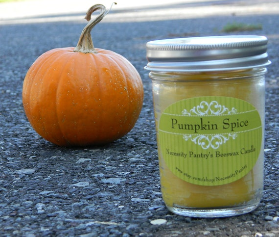 Pumpkin Spice fragrance oil Beeswax Candle, 8 oz.