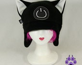 Pawstar Game ON Power kitty cat hat gamer geek fleece cosplay anime goth cyber xbox ski ear flap warm Black White Red Pink Lime Green 1230