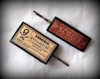 Handmade Polymer Clay Poison 2 Antique Bronze Bobby Pins Set