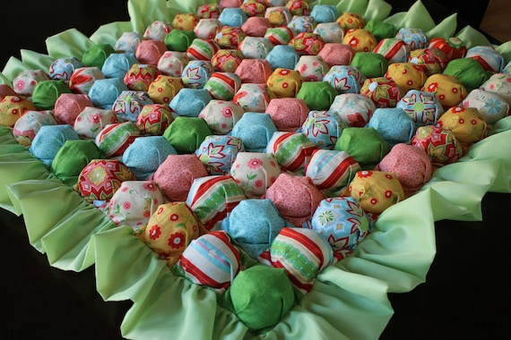 Bubble Blanket - Puff Blanket - Biscuit Quilt - Multicolor Mini Bubble Baby Blanket with Green Ruffle and Backing - Ready to Ship