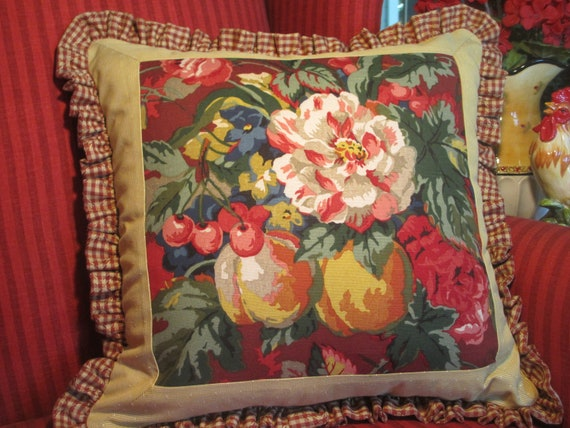 Items similar to French Country Pillow Cover Floral and