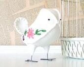Custom Bird for Rustic Jewels - Fabric Wedding Cake Topper Bird, Soft Sculpture Textile, Nursery Home Decor