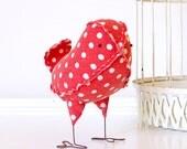 Rosie - Fabric Bird in Vintage Kitsch Red and White Polka Dot, Cake Topper Bird, Baby Nursery Decor, Valentines Day Decor - Made to Order