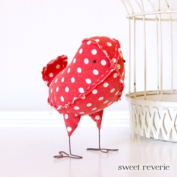 Rosie - Fabric Bird in Vintage Kitsch Red and White Polka Dot, Cake Topper Bird, Baby Nursery Decor, Valentines Day Decor - Made to Order