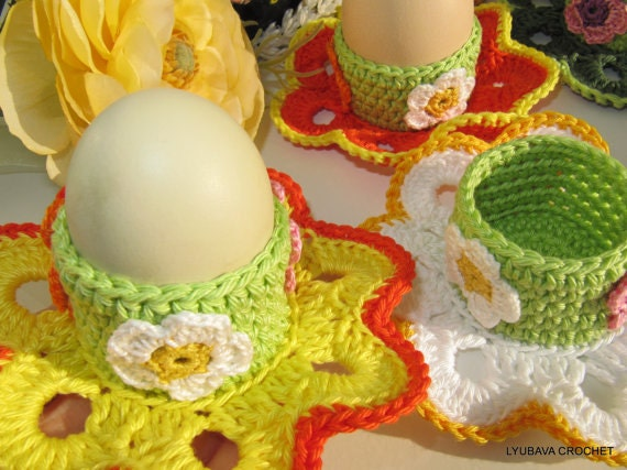 "Egg Holders Turorial Crochet Pattern PDF File, PDF Egg Holder ""Easter Flower"", Easter Table Decor, Cyprus Lyubava Crochet Pattern number 49"