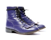 Vintage Lacers: Pure Purple Lace Up Ropers. Made in Mexico by Justin. Size - Mens VTG US 4 D (womens 6)