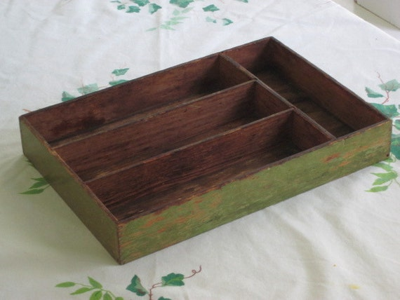 Primitive Worn Green Wood Divided Cutlery Box Utensil Holder