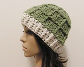 Epic Ribbed Snow Beanie - Lettuce and Eggshell - Made to order - Mens and womens hat