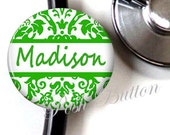 Stethoscope ID button tag-Green damask personalized with your choice of initial or name.