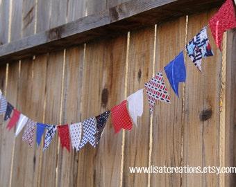 Mini Patriotic Scrappy Fabric Bunting // Patriotic decoration
