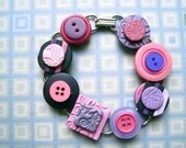 Vintage Button and Stamped Clay Tile Bracelet Purple Pink