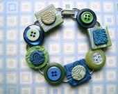 Bracelet Upcycled Vintage Buttons and Polymer Clay Tiles Navy Blue Olive Green 2.0