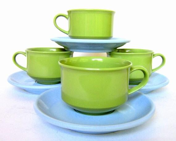 Vintage Melamine Cups & Saucers Avocado Green - Sky Blue Lenotex and Boontonware Tea Coffee Set of Melmac Mugs