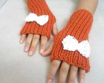 Halloween gloves,  Knit Glove, Arm Warmers, Fingerless Gloves, Bow Accessory, Orange, Cute Gifts, Handmade Gifts
