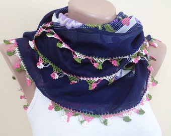 Handmade Scarf, crochet scarves, women accessories, winter scarf, gift for ger, shawls, Oya, Floral scarf, Cgristmas gifts