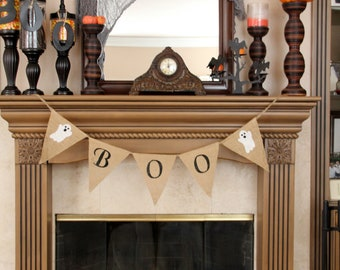 BOO Burlap Banner - Ghosts Halloween Banner, Holiday Decoration, Mantel Decoration - Fall Banner -Halloween garland, Halloween Photo Prop