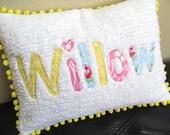 """Name Pillow, Cover, Applique on Chenille, Pom Pom Trim 12"""" x 16"""""""
