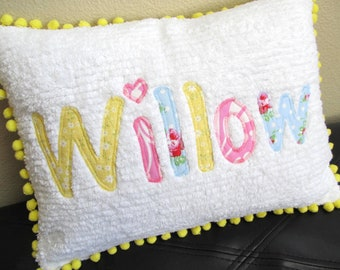 "Name Pillow, Cover, Applique on Chenille, Pom Pom Trim 12"" x 16"""