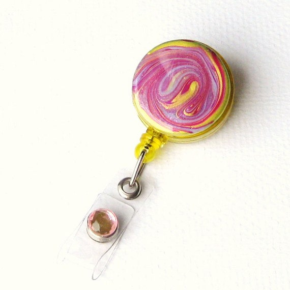 Pink Yellow - Designer Badge Reel - Hand Painted Badge Holder - Unique Badge Reel - BadgeBlooms