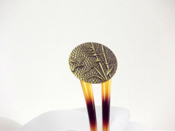 Bamboo Dragonfly Hair Pick,    Asian Style Hair Accessory