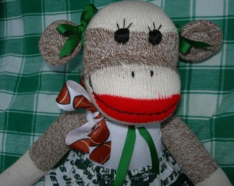 New York Jets Football Brown Red Heel Sock Monkey Girl Doll