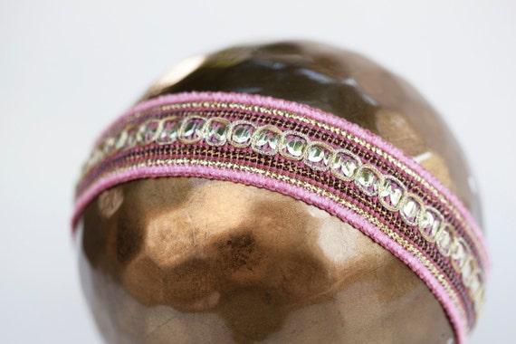 Newborn halo headband - pink, gold - Art Collection