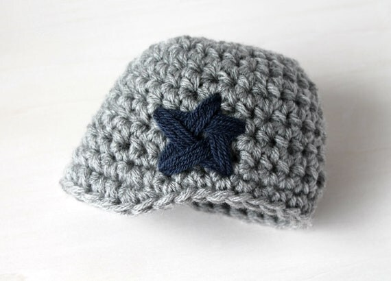 Brimmed Beanie Hat for Baby Boy with Embroidered Star - Silver Gray and Blue - Cowboys Colors - Newborn - READY TO SHIP