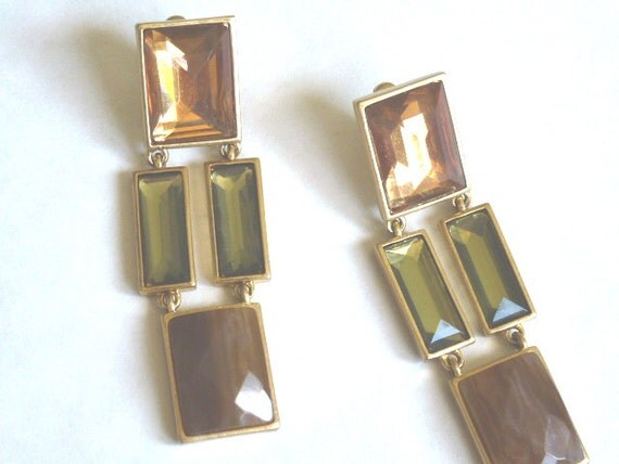 Ann Klein Gold Tone with Crystals & Stone // Drop Clip-on Earrings 80s 90s // CaliforniaSeabreeze Shop on Etsy