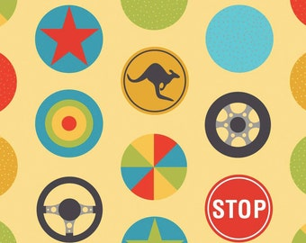 Peak Hour Stop Yellow, by Kellie Wulfsohn, Riley Blake Designs,One Yard Cut
