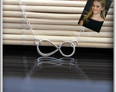 Infinity charm necklace in sterling silver, reese witherspoon necklace, vermeil infinity, endless love, love necklace