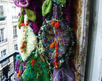 handmade,handknitted,crocheted,vegetal,fairy scarf,wall hanging,purple,violet,pink,green,orange,with flowers,leaves,wearable art,OOAK