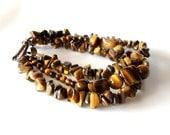 Honey Gold Tiger's Eye Bracelet-  Multi Strand Bracelet, Autumn Jewelry, Fall Fashion,