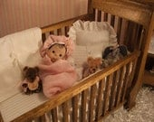 Mini Solid wood crib Collectable handcrafted  for OOAK Polymer clay baby art dolls
