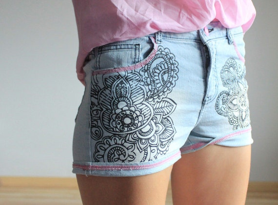 Tatoo blue denim shorts