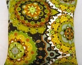 "Vintage 70's design 18"" pillow cover. Acid green orange yellow  brown and black - hippie moroccan OOAK"