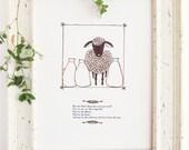 """Nursery Rhyme Art Print - """"Baa Baa Black Sheep"""""""