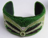 Art Nouveau Style Bead Embroidered Cuff with Pear Shaped  Peridot for August