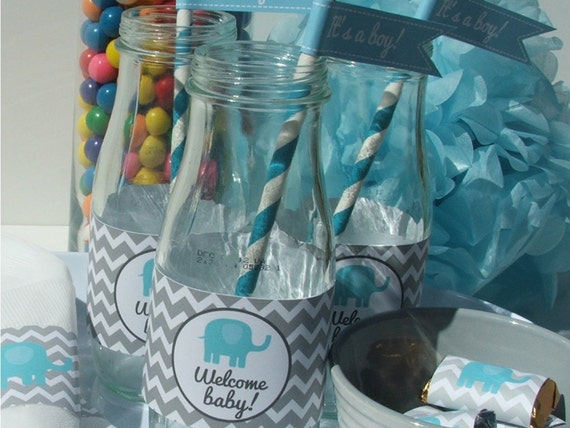 elephant baby shower decorations party package blue gray chevron be52