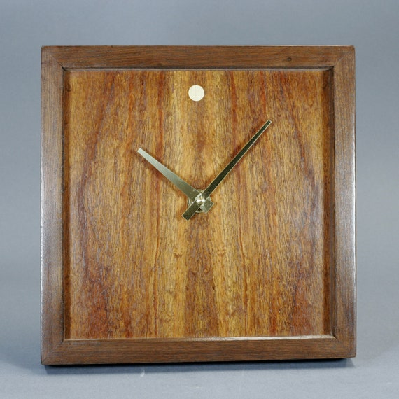 Mahogany Veneer And Walnut Wood Wall / Mantle Clock 10 Inches Square No. 42