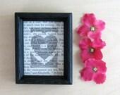 love - Poetic Drawing - Book Paper Art - Framed Original Art - Black & White Art - Heart Shaped Art - Romantic Valentine - Paper Anniversary
