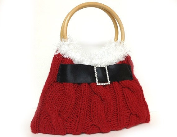 Knitted Purse : Red Christmas purse hand knitted Santa purse Christmas gift or for you
