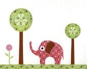 Elephant, trees, flower - Print / poster, abstract whimsical illustration, collage art for kids, children, baby girl, boy room, nursery