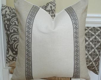 Greek key pillow cover. Greek key trimmed natural linen pillow cover. Colorblocked pillow cover - 18 x 18