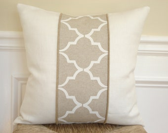 Colorblocked pillow cover. Hand painted Ivory and oatmeal linen decorative pillow cover  - 20 x 20