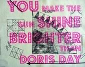 Screen Printed Hot Pink Doris Day Panel (Code Nil Button)