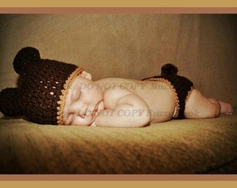 Beautiful Crochet  Set Baby Bear hat and diaper cover, photo prop.