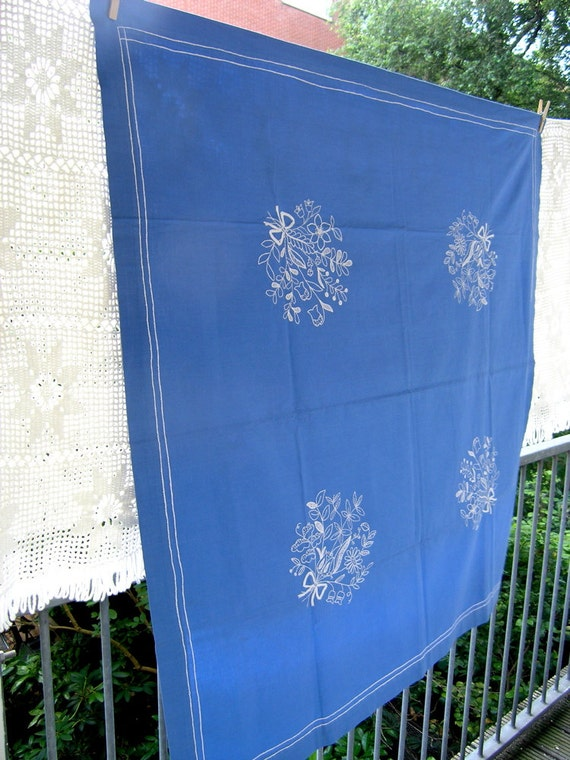 Vintage Danish tablecloth, hand-embroidered