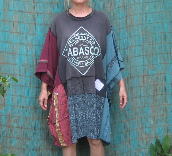 One Size Fits Most Kaftan, Upcycled Clothing, Poncho or Dress, Repurposed T-Shirts