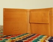 SALE - Mustard Yellow leather wallet / gift for him / gift for christmas