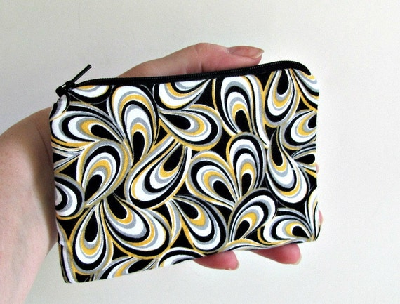 Zipper Coin Purse / Change Purse small (Padded) Pouch - Lemon Yellow and Black Licorice Cell Phone Camera case
